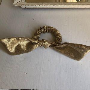 J Crew Gold Hair Bow Tie